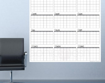HUGE YEARLY BLANK Calendar - Jan thru Dec - Dry Erase Wall Decal 48x50 inches