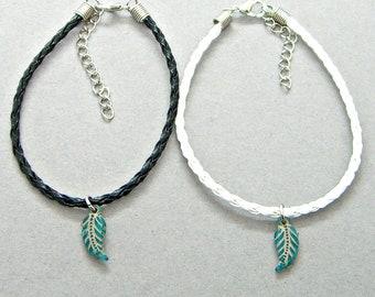 Bracelet Anklet Adjustable Acrylic Leaf Charm Faux Braided Leather Hippie Boho Festival