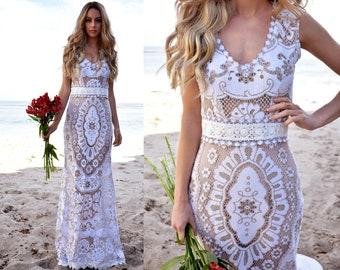 Vintage Lace Sleeveless Scallop Floral Mermaid Beach WEDDING Dress Gown Elopement Destination Backyard Saldana Vintage OOAK Raine Dress