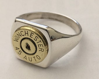 Winchester  45 Auto 1911 Pistol Mens  Bullet  Ring   Sterling Silver 925 Sizes: 9 to 11 Custom Made in the USA Bullet Jewelry