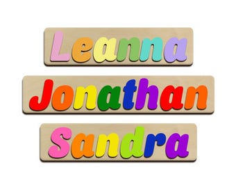 Wooden name puzzle etsy jumbo personalized wooden name puzzles childrens name puzzles first birthday baby shower gifts upper and negle Images
