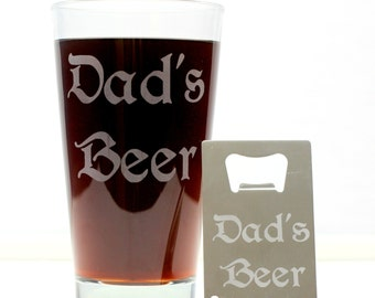 Dad's Beer Glass & Bottle Opener set, Gifts for Him, Gifts for Dad, Homebrew Gift, Beer Glass, Beer Gift, Beer Lover, Christmas Gift