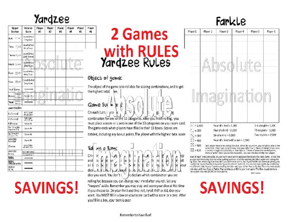 Printable Super Bundle Yardzee Yardzee Rules  Farkle