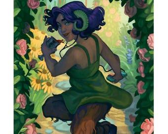 Faun  • fine art print • illustration • mythology • faun • garden
