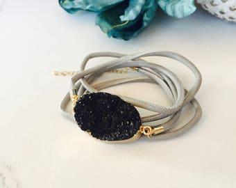 Druzy Stone & Leather Wrapped Bracelet