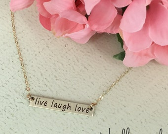 "Gold ""live laugh love"" bar necklace - Layering necklace - Sterling Silver, Gold-filled or Rose Gold-filled option - gold bar necklace"