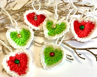 6 Crochet Heart Set, Heart Appliqués, Christmas Heart Ornaments , Jingle Bells Hearts , Crochet Acrylic, Christmas Ornaments