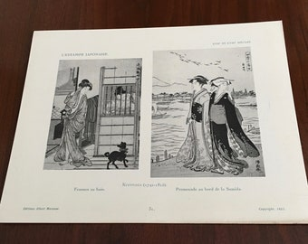 Vintage Japanese Ukiyo-e Print by Kiyonaga #31 . Original 1923 French bookplate. Woodcut, antique, chinoiserie, authentic.