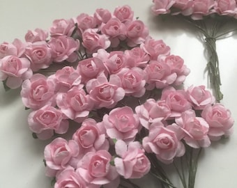 36 tiny pink paper flowers,   Paper flower, tiny pink flower, craft wedding roses,pink roses decor craft events, baptism, weddings,bo
