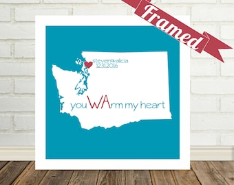 WASHINGTON Map Print Personalized Anniversary Gift Framed Art State of Love Unique Anniversary Present Unique Valentines Day Gift