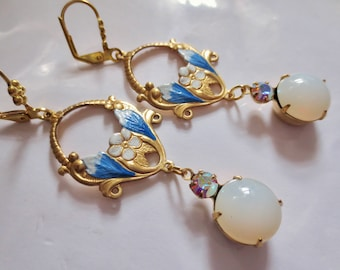 Art Nouveau earrings Edwardian earrings vintage style blue Art Deco earrings hand painted  opal glass earrings vintage wedding earrings