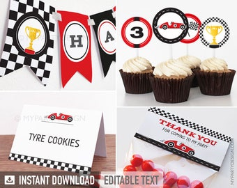 Car Race Party Pack - INSTANT DOWNLOAD - Printable PDF with Editable Text