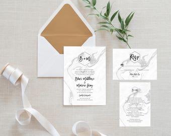 Printable Wedding Invitation Suite, Minimalist, Marble, Honeycomb Hexagon, Simple Wedding Invite, Hipster Wedding, Printable Invitation (13)