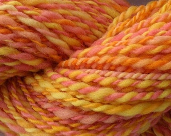 255 yds Summer Citrus handspun yarn, 179 g, 6.3 oz, 9 WPI