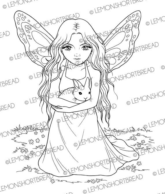 Velveteen rabbit and coloring pages ~ Digitalen Stempel Fee mit Hase Kaninchen Digi Download