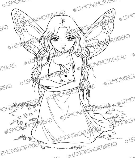 digital stamp fairy with bunny  rabbit digi download