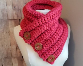 Cherry Red Three Button Cowl, Crochet Scarf, Chunky Knit, Cozy Red Cowl, Womens Winter Scarf, Crochet Cowl, Textured knit bulky cowl