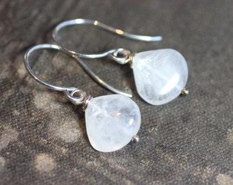 Moonstone Earrings Sterling Silver Rustic Jewelry White Moonstone Earrings