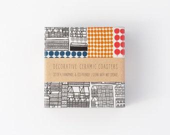 Ceramic Tile Coasters Marimekko Graphical Urban Modern Design Repurposed Beverage Coasters
