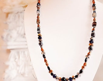Beaded Long Necklace - Mixed Metals Necklace - Birthday Gift for Sister - RICHMOND Mixed Metals