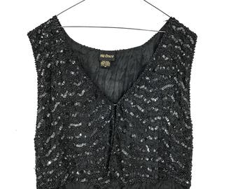 80s VINTAGE Clothing 80s Clothing SEQUIN JACKET Vintage Sequin Vest Black Sequin Top Vintage Clothes 80s Party Clothes Black Sequin Jacket M