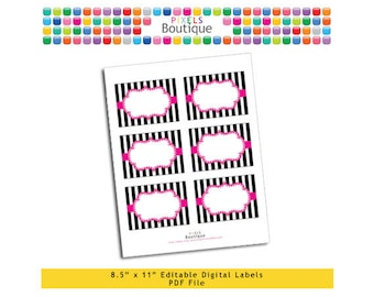 """PDF Editable Pink & Black Stripes Tags/ Stickers/ Labels (No. 207) 3.5"""" X 2.5"""" Labels, Buffet or Food Cards, Favor Tags Printable"""