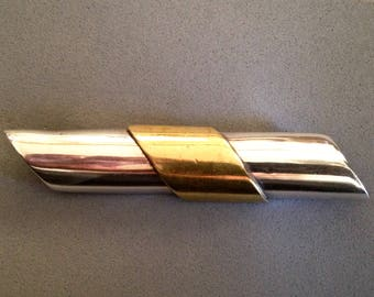 Vintage Signed Sterling and Brass Bar Pin