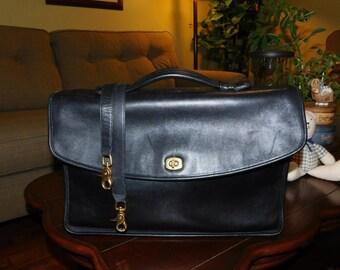 COACH~Black Leather Metropolitan Briefcase Messenger Bag