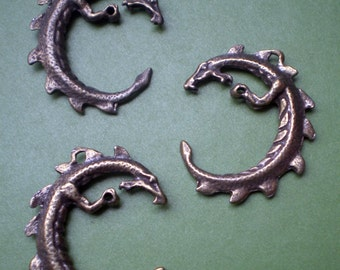Brass Dragon charm: Circular with loops for briolette or crystal (lot of 3)