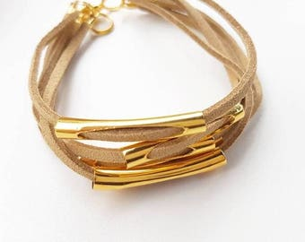 Beige Faux leather Bracelet With Golden Tubes