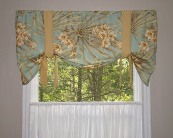 Window Valance, Tie Up Valance, Window Treatment, Magnolia homes, Palm Leaf Valance, Floral Valance, Tropical Valance, Beach House Valance