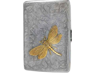 Dragonfly Metal Cigarette Case Inlaid in Hand Painted Enamel Neo Victorian Inspired Silver Swirl Design Other Colors and Personalized Option