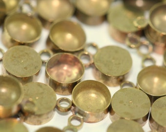 Setting for Drop Gemstone 40 PCS Raw Brass 5 mm Pendant finding Findings 1549