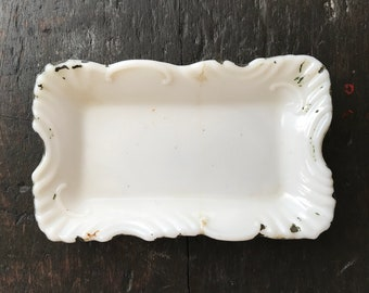 Vintage Vanity Milk Glass Tray Victorian