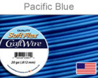 20 Gauge Pacific blue Silver Plated Wire, Soft Flex, Tarnish Resistant,  Round, Supplies, Findings, Craft Wire