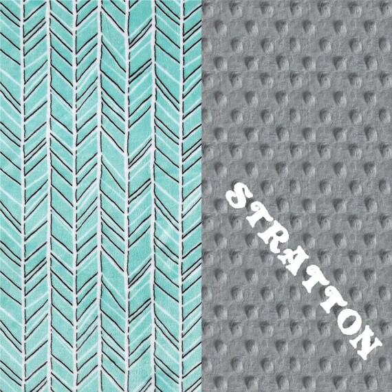 Minky Baby Blanket, Gray Aqua Herringbone Personalized Baby Blanket, Baby Gift, Boy Girl Baby Blanket, Name Baby Blanket, Receiving Blanket