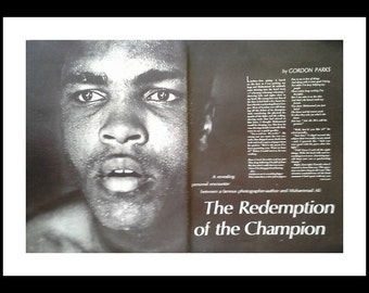 The Champ.  Ali.  'Redemption of the Champion'  Fight v. Cleveland Williams.  Rising Star.  2 pg article & stunning photo. Ready Framing.