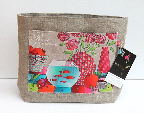 Model illustrated natural linen 'grenadine rose' large bag Organizer