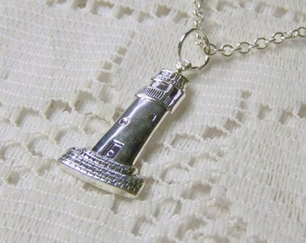 Silver Lighthouse Pendant, Lighthouse Necklace, Sterling Silver Plated Lighthouse Necklace, Lighthouse Jewelry, Complimentary USA shipping