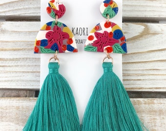 Statement tassel earrings with handcrafted polymer clay- tropical floral aqua green