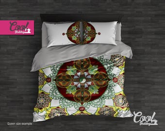 Balance Yin Yang Bedding Set, Mandala Duvet Cover, Boho Bedding, Queen King Bohemian Comforter Set 10