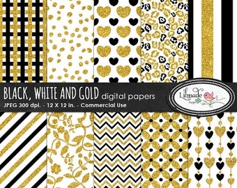 50%OFF Glitter digital paper, black and gold digital paper,  foil digital paper, scrapbook papers for photography and scrapbooking, P 276