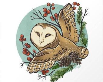 Winter Owl Print 8x8