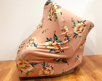 "Infant Baby Stretchy Multi-Functioning ""Peachy Peonies"" Car Seat Cover, Nursing Cover, Cart Cover"