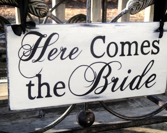 Here Comes the Bride,  Wedding and photo props, Single Sided, ring bearer sign