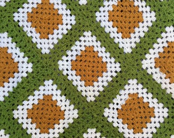 FALL COLORS--Retro Afghan or Throw, Crocheted, Gold and Avocado, Beautiful