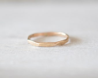 Gold Faceted Hammered Ring, 14k Gold Ring, Gold Rings for Women, Stackable Rings, Gold Stacking Rings, Gold Filled Ring, Hammered Gold Ring