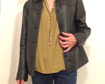 black leather J. Crew jacket, women's S