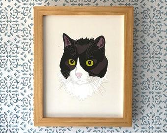 Casual Cat, 8x10 art print Animal Art, illustration, home decor, Nursery, wall art