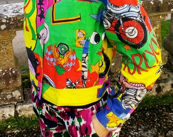 RARE Vintage 90's Gianni *VERSACE* Jeans Couture Betty Boop Harley Davidson JACKET Size Small